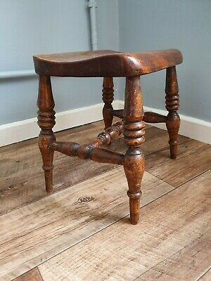Stunning antique stool small oak elm milking stool Victorian beautiful piece
