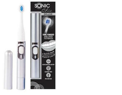 SONIC Chic DELUXE USB Rechargeable Battery Toothbrush Dual Speed Metallic silver
