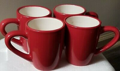 Home Trends Set of 4 Beautiful Holiday RAVE RED Coffee Mugs with Ivory Interior