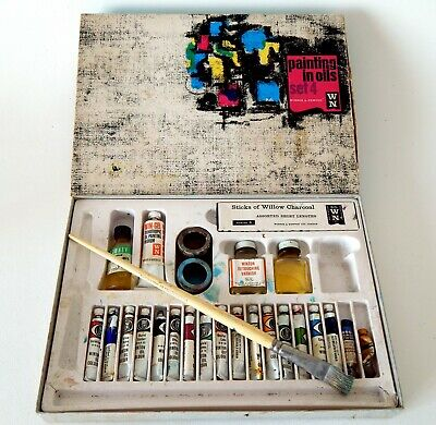 Vintage Winsor and Newton Oil Paint Set Painting Artist - Oils