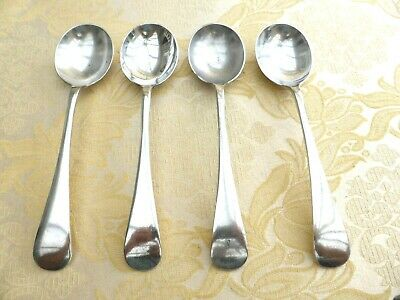 4 x VICTORIAN SILVER PLATED OLD ENGLISH PATTERN SOUP SPOONS   1410064/068