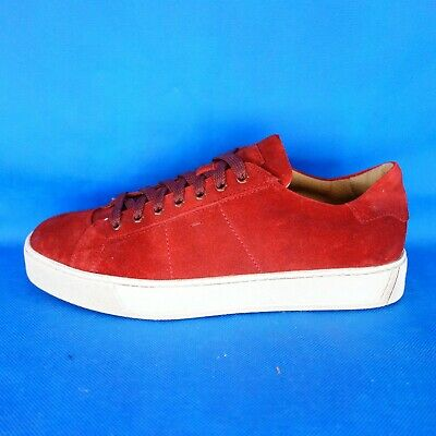 SANTONI MEN'S SHOES Low Sneakers Trainers Red Suede 41 43,5