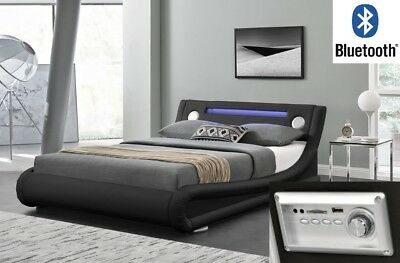 Designer Bluetooth LED Leather Low Bed Frame Single Double King Black White Grey