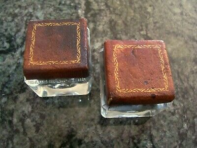 Antique/Vintage Pair Of Glass Inkwells,  Glass Tops With Tan Tooled Leather