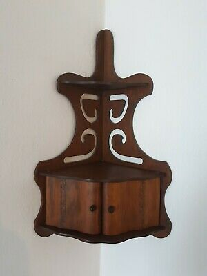 Vintage Wooden Corner Curio 3 Tier Shelf With 2 Doors & Fretwork