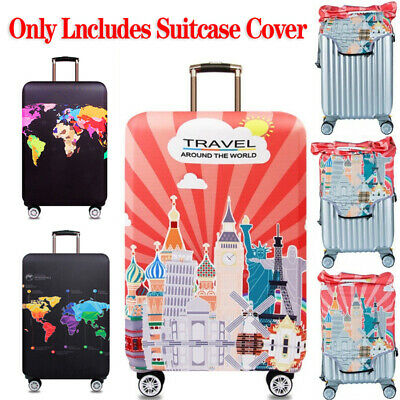 Elastic Trolley Protector Luggage Case Cover World Map Suitcase Travel Accessori