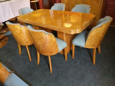 Stunning Hille/Epstein  Art Deco Birdseye maple dining table and chairs1930.