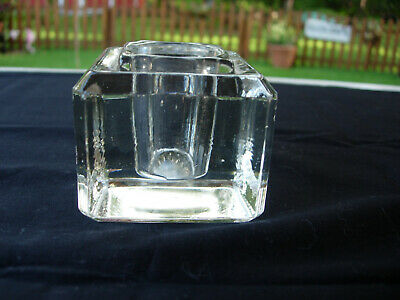 Vintage Antique Thick HEAVY CUT GLASS INKWELL Beveled Edge all sides circa1896