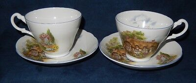 2 Vintage Allyn Nelson ~ Bone China ~ № Anx9 English Cottage ~ Teacup & Saucers