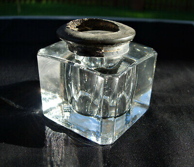 Vintage Antique CUT GLASS INKWELL insert Beveled Edge w/part of old cap cir.1896