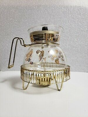 """MCM Atomic Glass Coffee Carafe with Burner """"Jet-O-Matic"""" Flameproof ca. 1950's"""