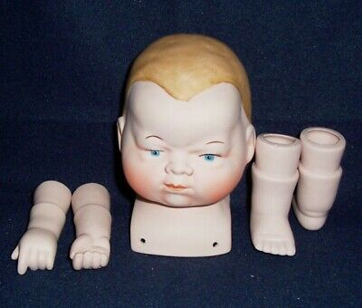 """1979 BISQUE Doll Head, Arms & Legs, with complete instructions for 15"""" doll, NEW"""