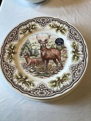 Royal Stafford 4 Fall Woodland Stag Deer Dinner Plates Dishes *Nwt!*