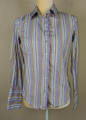 Free People CP Shades Blue Gingham Checked Button Down Blue Cotton Top Shirt XS