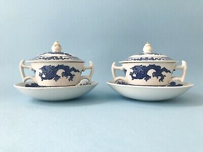 Vintage Pair Booths Silicon English China Soup Cups Lid Saucer Blue Asian Dragon