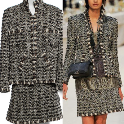 CHANEL 12A METIER's d'ART JACKET AND SKIRT SUIT GRIPOIX CC BUTTON SUIT FR46 1$2K