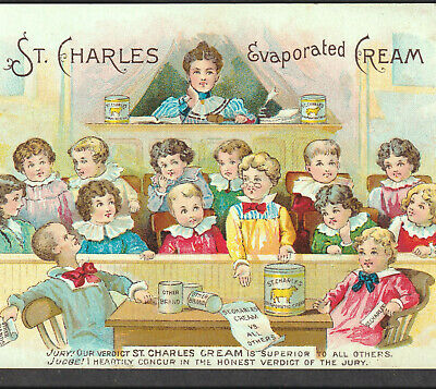 St Charles Evaporated Cream 1800's School Teacher Condensed Milk Cow Trade Card