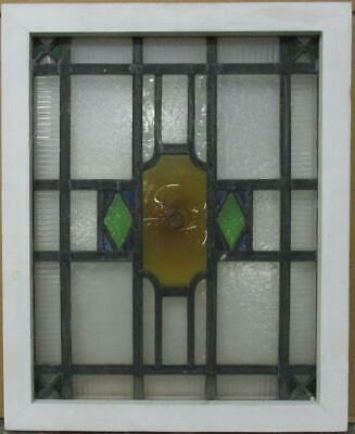 "OLD ENGLISH LEADED STAINED GLASS WINDOW Geometric with Bullseye 17.25"" x 21.25"""
