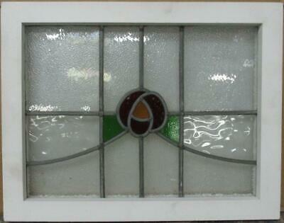"OLD ENGLISH LEADED STAINED GLASS WINDOW Pretty Floral Sweep 19.75"" x 15.5"""