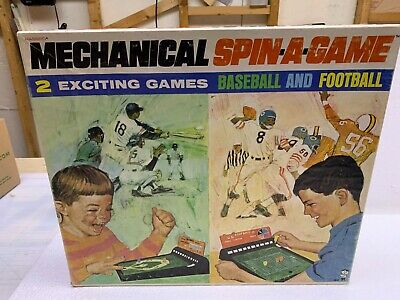 Vintage Mechanical Spin-A-Game Hasbro Baseball And Football Old Game Rare!!!