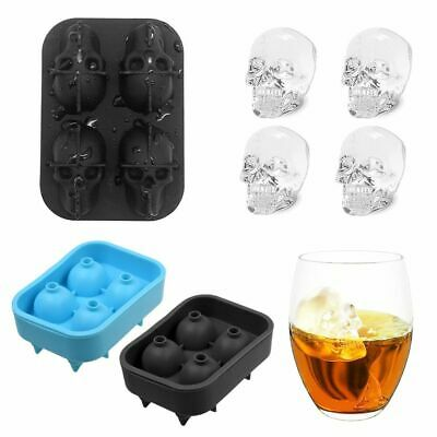 2PCS Large Ice Cube Tray Ball Maker Big Rubber Mold Skull Head DIY Round Mould