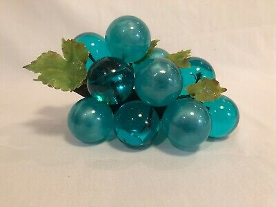 LARGE Vintage Lucite Acrylic Grape Cluster Mid Century Teal/Turquoise & Leaves