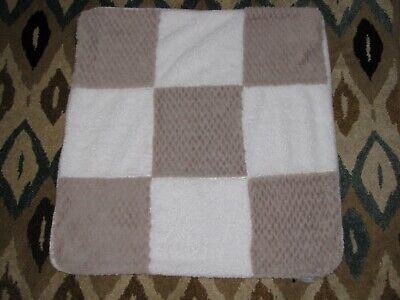 Kyle and & Deena Baby Blanket White Tan Brown Patchwork Square Block Plush