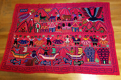 Folk Art Latin Mexican South American HandMade Colorful Blanket 65' x 45' inch