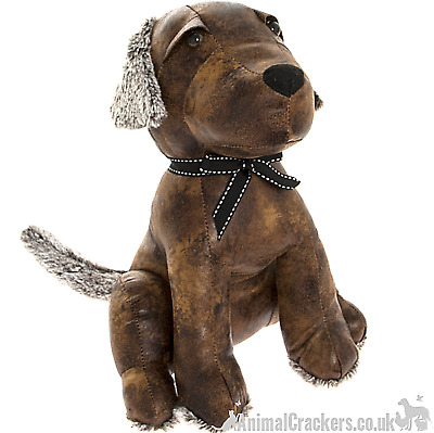 Heavy brown faux leather sitting dog shaped door stop decoration Dog lover gift