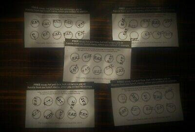 *GENUINE* - Lot of 5 - Cards for a FREE item from Lunch Menu at EAT - NO DRINKS