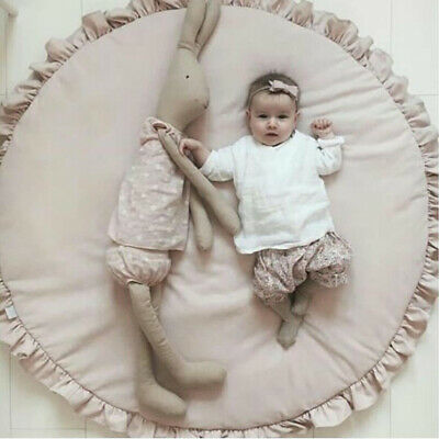 Round Cotton Baby Crawling Mat Solid Baby Play Mat Carpet Blanket 100X100cm AU