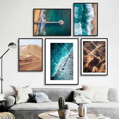 Ocean Sea Waves Canvas Poser Desert Landscape Nordic Art Print Modern Decoration