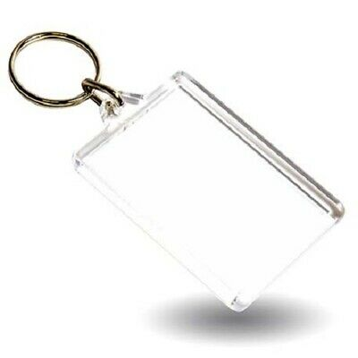 Rectangular Blank Plastic Photo Insert Keyring - 50 x 35mm Harlequin Lace