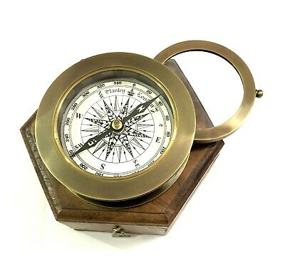 "3"" Nautical Antique Maritime Brass Compass with Magnifying Glass on Wooden Case"