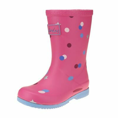 Joules Pink Star Confetti Welly Girls Pink Boot size uk kids children slip-on
