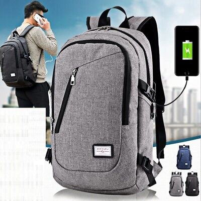 Anti-theft Men's USB Charger Port Backpack Laptop Casual School Bags Rucksack