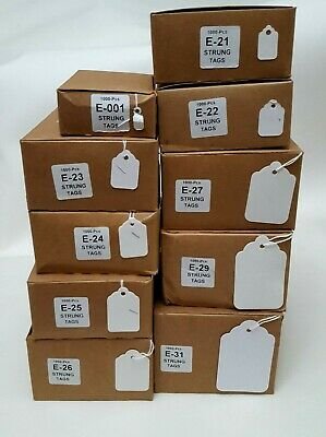 1000 White Card Strung Price Swing Tag Labels Shop Retail Market Stock Tickets
