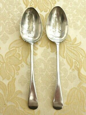2 x WALKER & HALL ART DECO SILVER PLATED OLD ENGLISH SERVING SPOONS  1390510/513