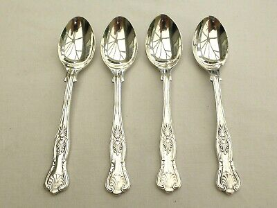 4 x VINTAGE SILVER PLATED KINGS PATTERN TEA SPOONS    1470360/363