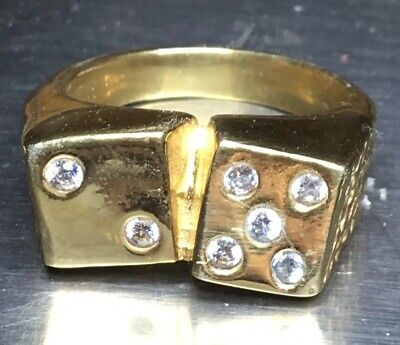 Dice Pinky Ring 925 Sterling Silver 24k Gold Plated  SZ 7.5 Lucky Seven