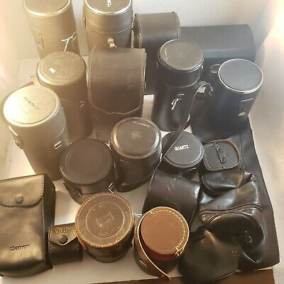 Large Lot Of Vintage Camera Lense Cases! Canon, Konica, Tamron!