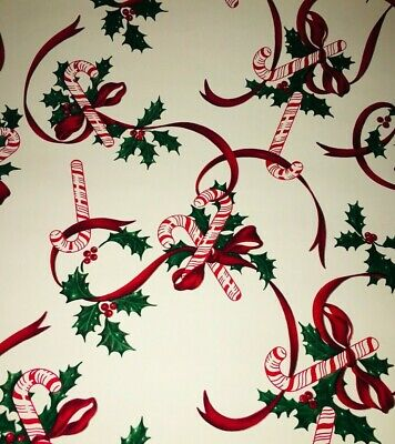 Vtg Christmas Wrapping Paper Gift Wrap Candy Cane Ribbon Holly Nos 1960 24 X 26""