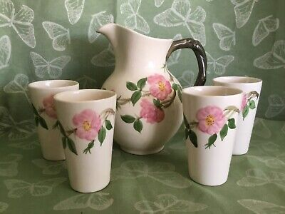 Franciscan Desert Rose Pitcher and 4 Water Glasses - Pottery Made in USA