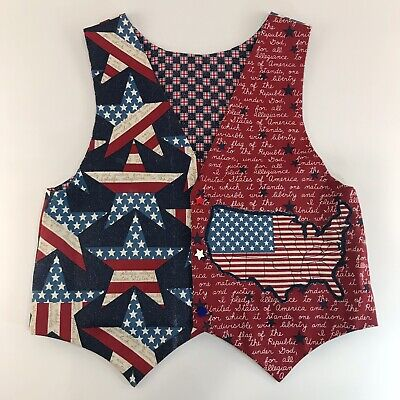 Handmade Patriotic Vest Size Large Star Buttons United States Red White Blue
