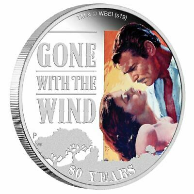 GONE WITH WIND 80th. Anniversary 1 Oz Silver Coin 1$ Tuvalu 2019