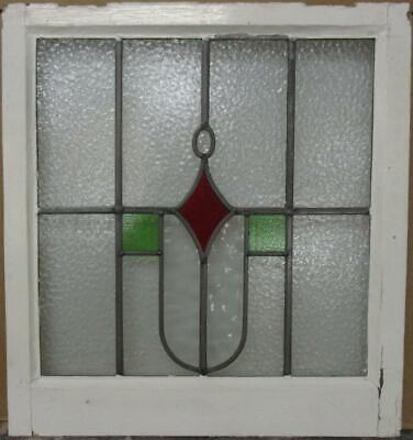 "MIDSIZE OLD ENGLISH LEAD STAINED GLASS WINDOW Geometric & Jewel 21.75"" x 23.25"""
