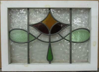 "OLD ENGLISH LEADED STAINED GLASS WINDOW Stunning Abstract Geometric 20.5"" x 15"""