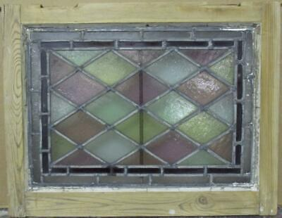 "VICTORIAN ENGLISH LEADED STAINED GLASS WINDOW Bordered Diamond Lead 21"" x 16.25"""