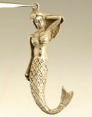 rare old copper silver hand carving mermaid statue figure pendant deco