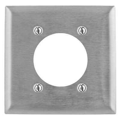 Hubbell Wall Plate Stainless Steel Single Receptacle 2 Gang SS701